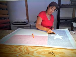 Texas Flag decal being made
