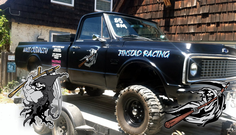 Tall Chevy race truck with Grim Reaper decals applied to the doors