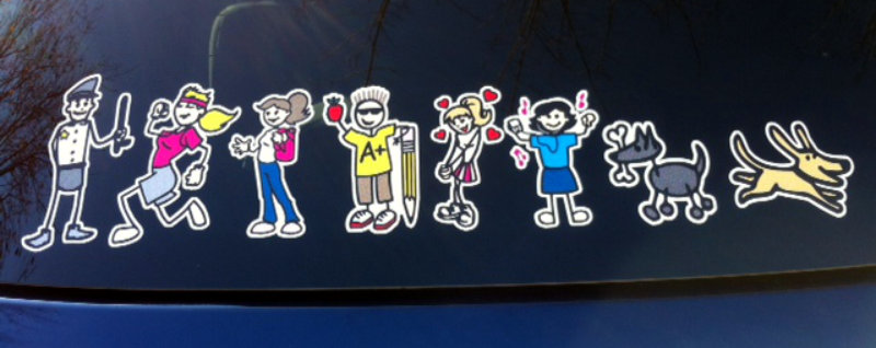 Full color family decal with policeman dad and running mom, plus kids and dogs.