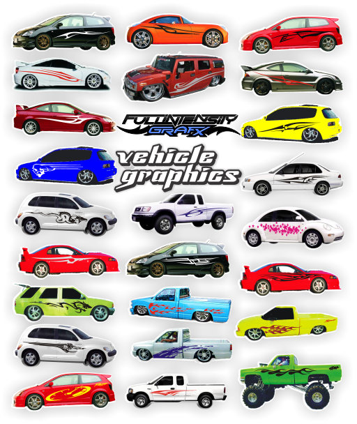 vehicles, cars, trucks, boat, with graphics applied