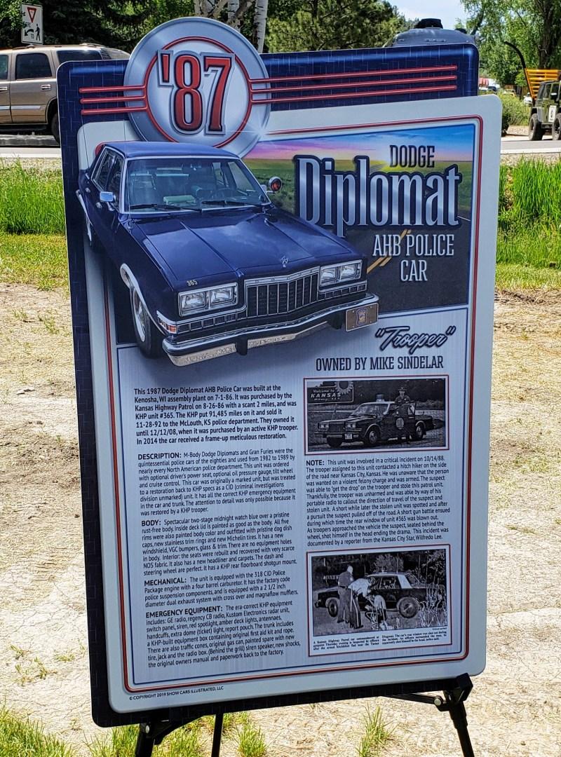 1987 Dodge Diplomat info poster
