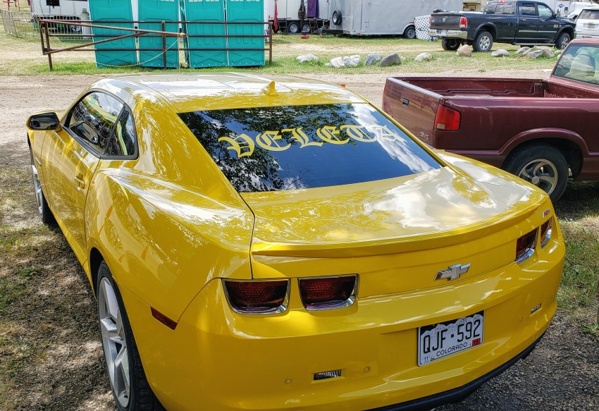Chevy Camaro with back window vinyl lettering decal sticker