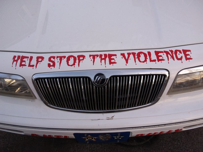 anti-bullying vehicle cruiser with red decals applied