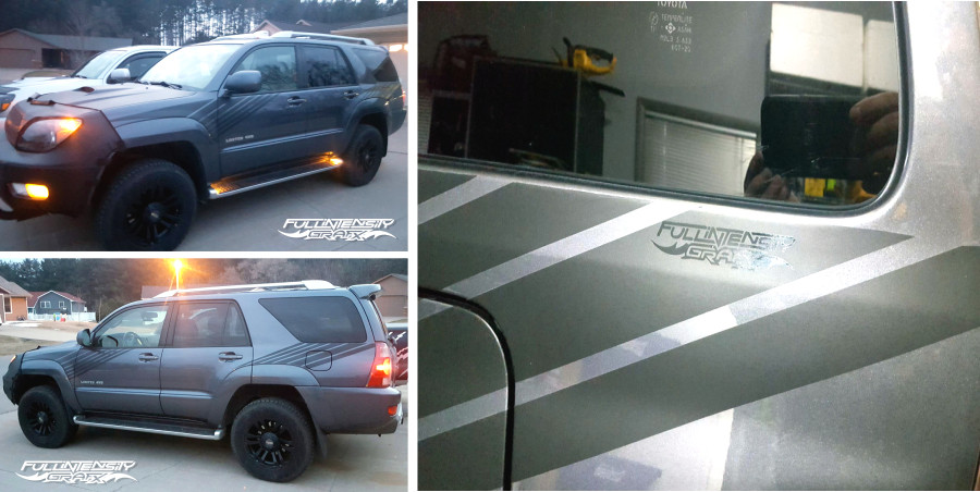 Toyota 4-Runner with matte black retro striping decals