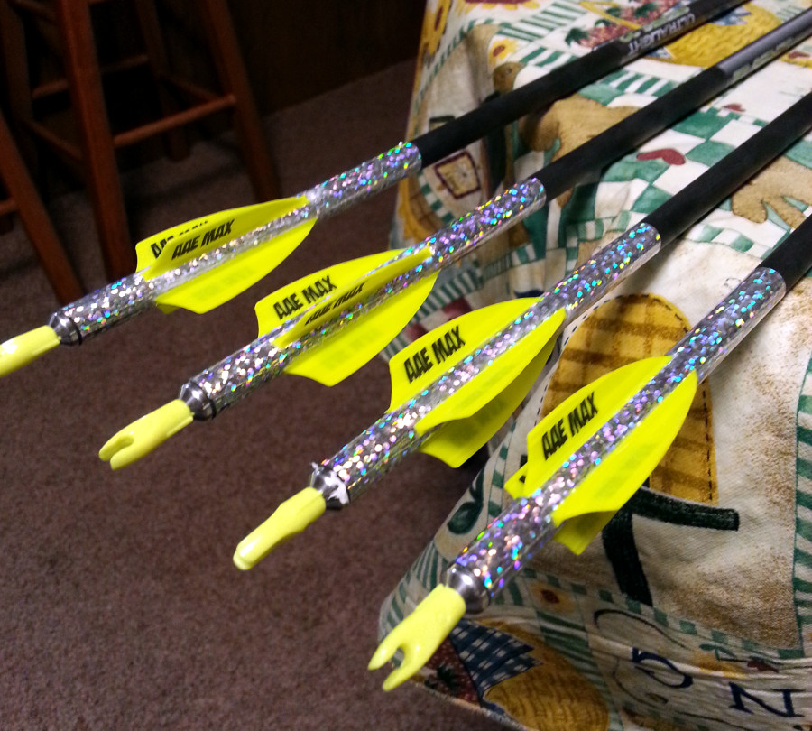 glitter vinyl on bow and arrows