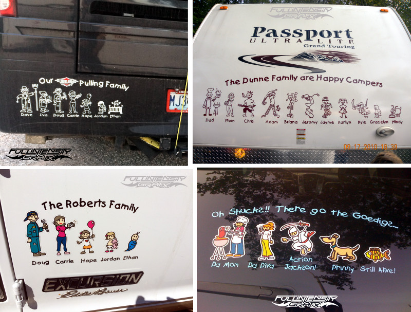 family stickers on car windows and RVs