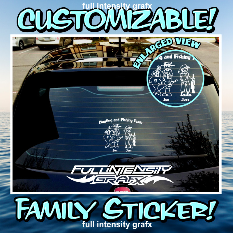 hunting fishing family sticker