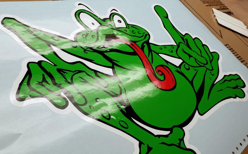 Wacky frog decal
