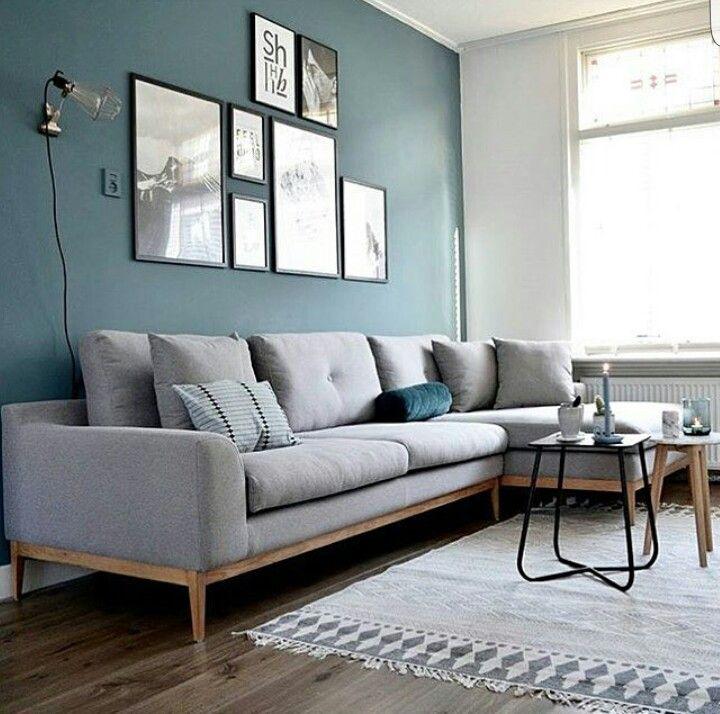 canape bleu gris deco salon mur bleu