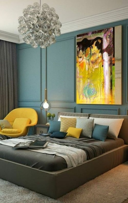 coussin bleu canard et jaune 5 idees