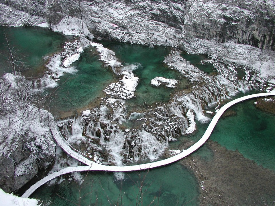 Plitvice in winter by Kvarner County Tourist Board.