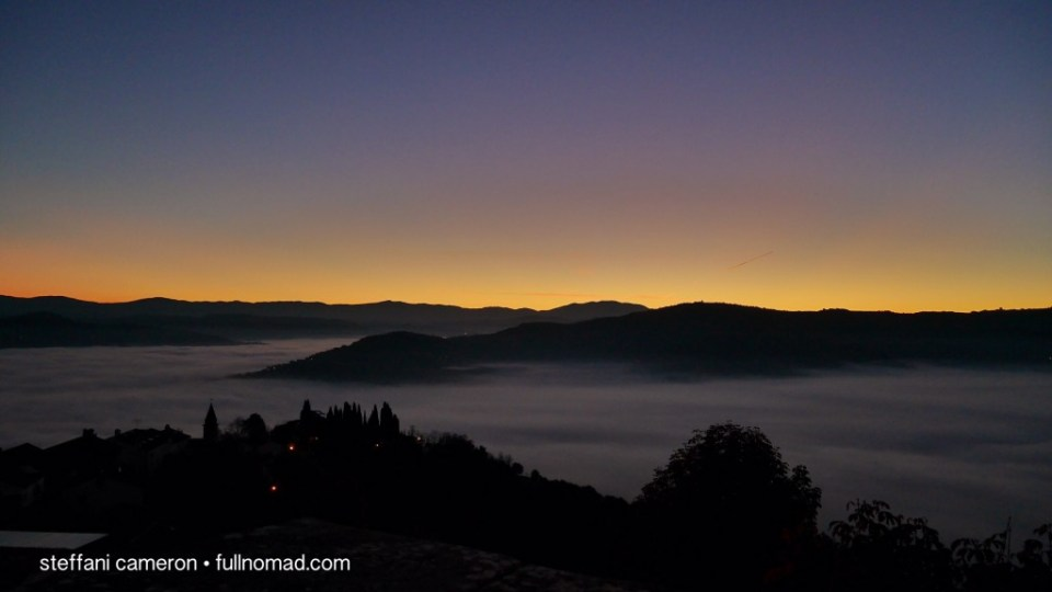 Fog in the valley below. A sunrise photo I've dreamt of taking for the better part of a year now, and my first day here.