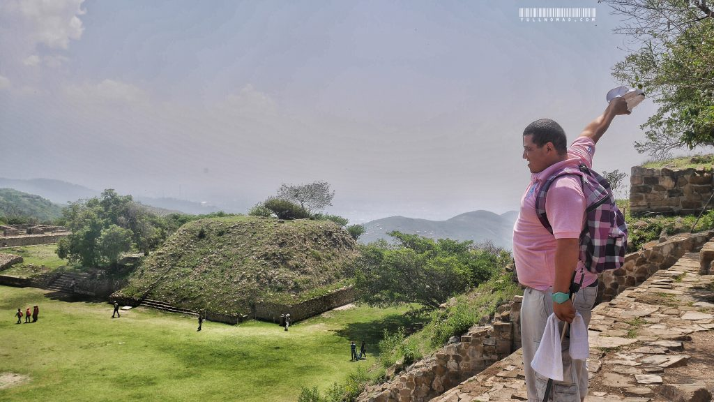 Once i Oaxaca, I would visit this -- Monte Alban, amazing Zapotec ruins covering 42 square kilometres at 7,000-feet-elevation on the outskirts of Oaxaca. I felt like this guy did after I climbed the steps!