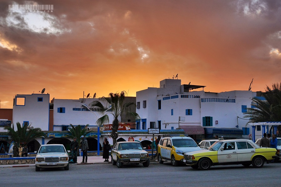 Sundown over the Taghazout town square, where soccer gets played nightly.