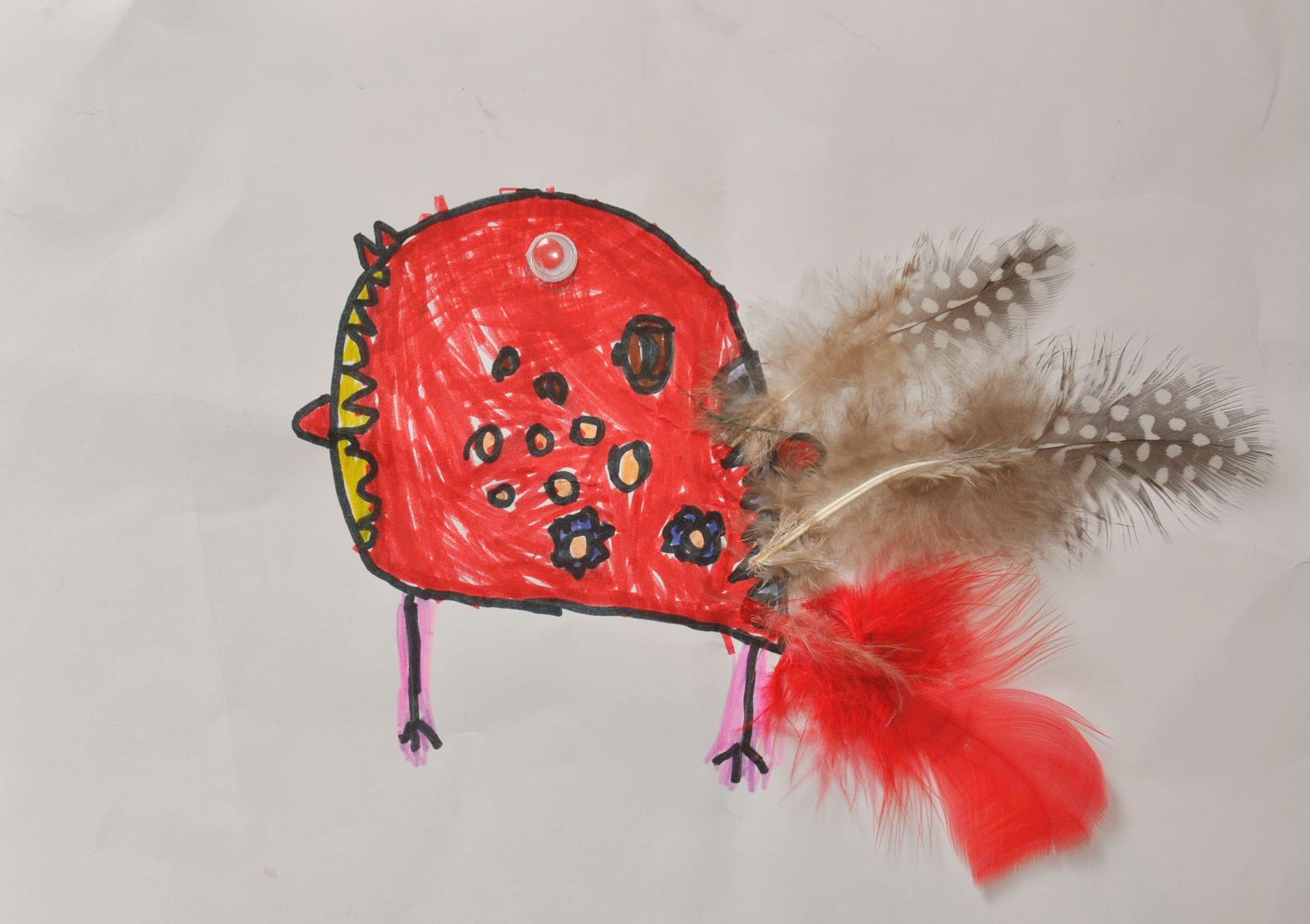 This is a child's drawing of a bird. It is an example of what can come from play therapy with young children to help them explore qualities of agency and resilience.