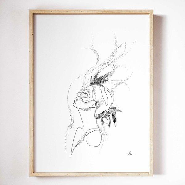 illustration femme du vent