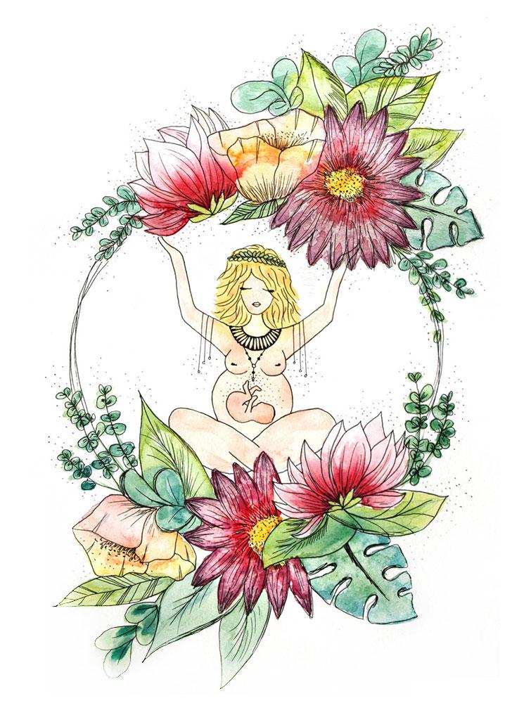 Création de faire part, tableau de naissance, illustration bébé, Alienor, By Full of Lau.
