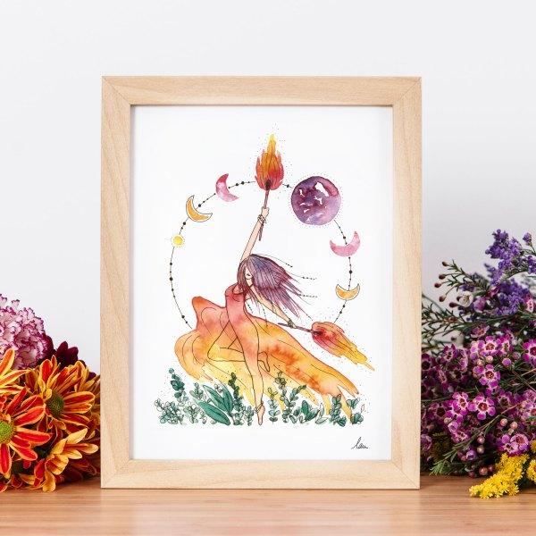 illustration aquarelle Brigit feu