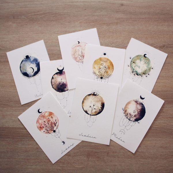 cartes lunes de sabbats coffret 8 cartes