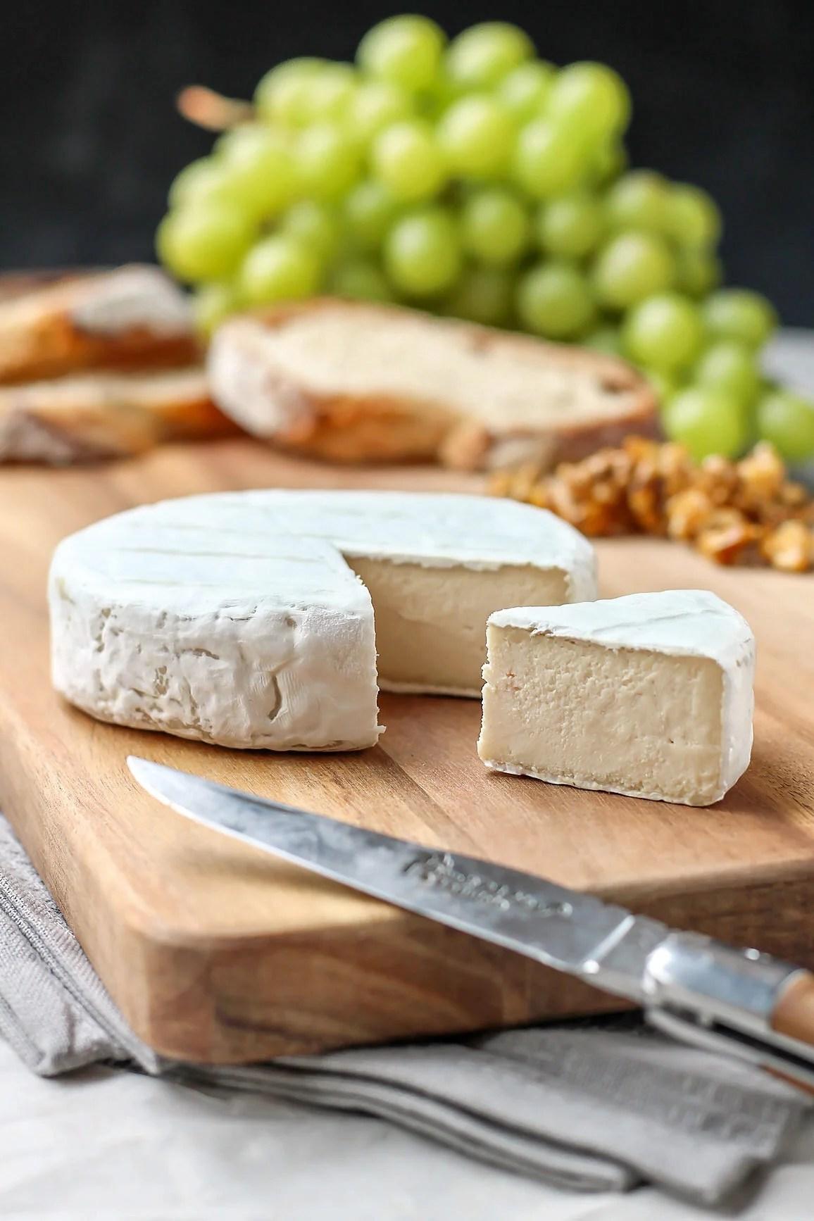 Vegan Camembert on a wooden board