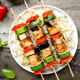 Almond Butter Tofu Skewers