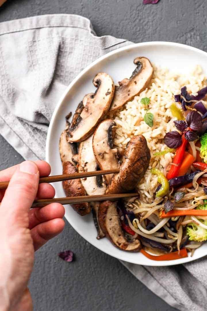 Vegan Portobello Chops Suey Bowls