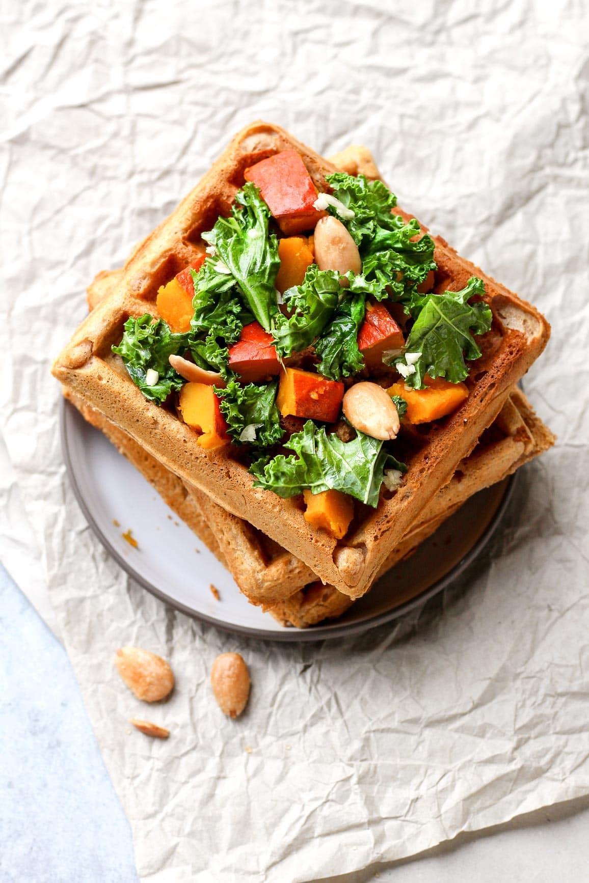 Vegan Pumpkin Waffles Benedict