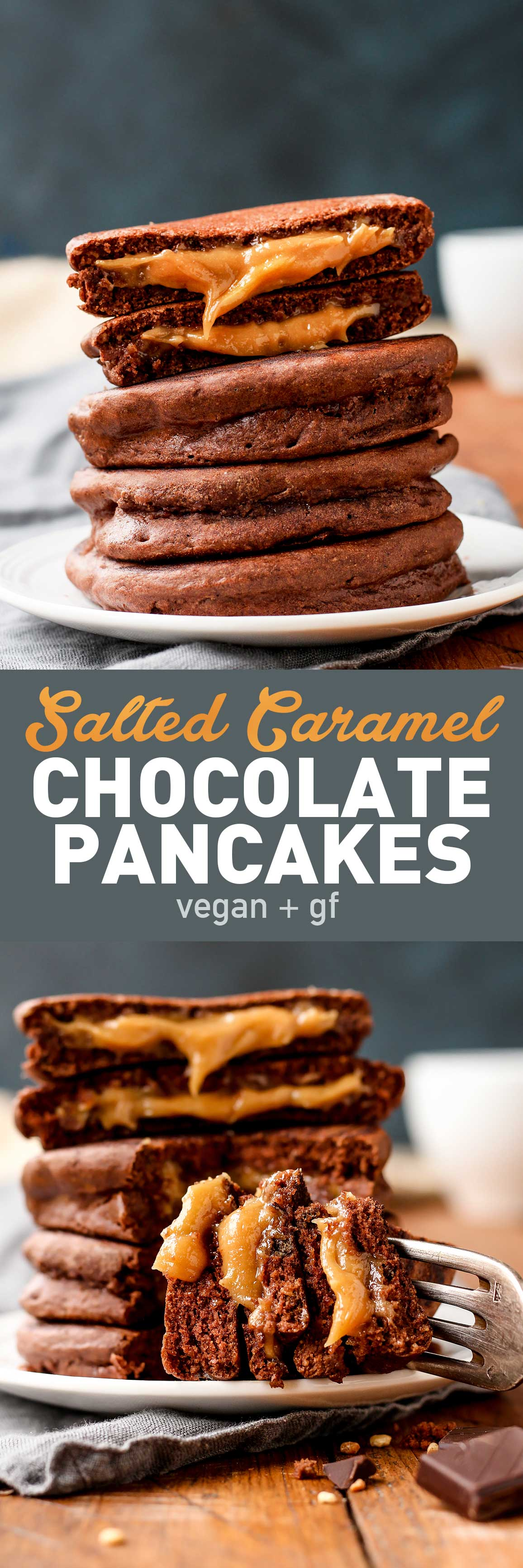 Salted Caramel Chocolate Pancakes