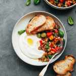 Eggplant Caponata with Almond Yogurt