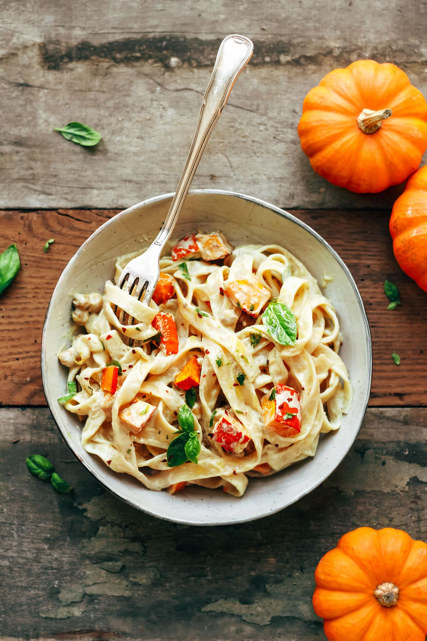 Pumpkin & Chickpea Pasta with Creamy Miso Sauce (Vegan + GF)