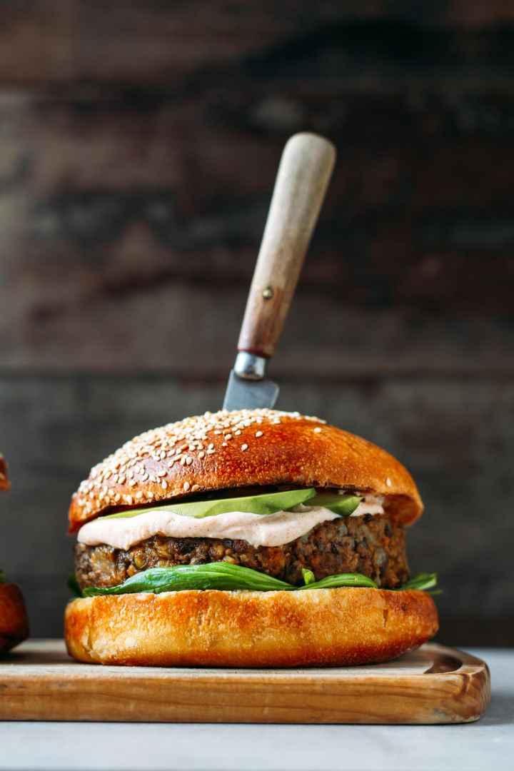 Jerusalem Artichoke Lentil Burgers