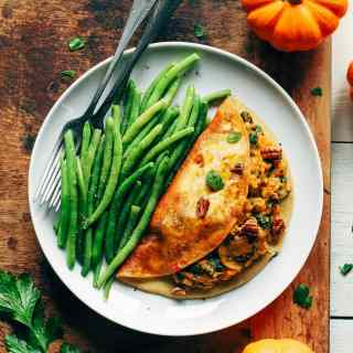 Maple Glazed Omelet Filled with Pumpkin Risotto