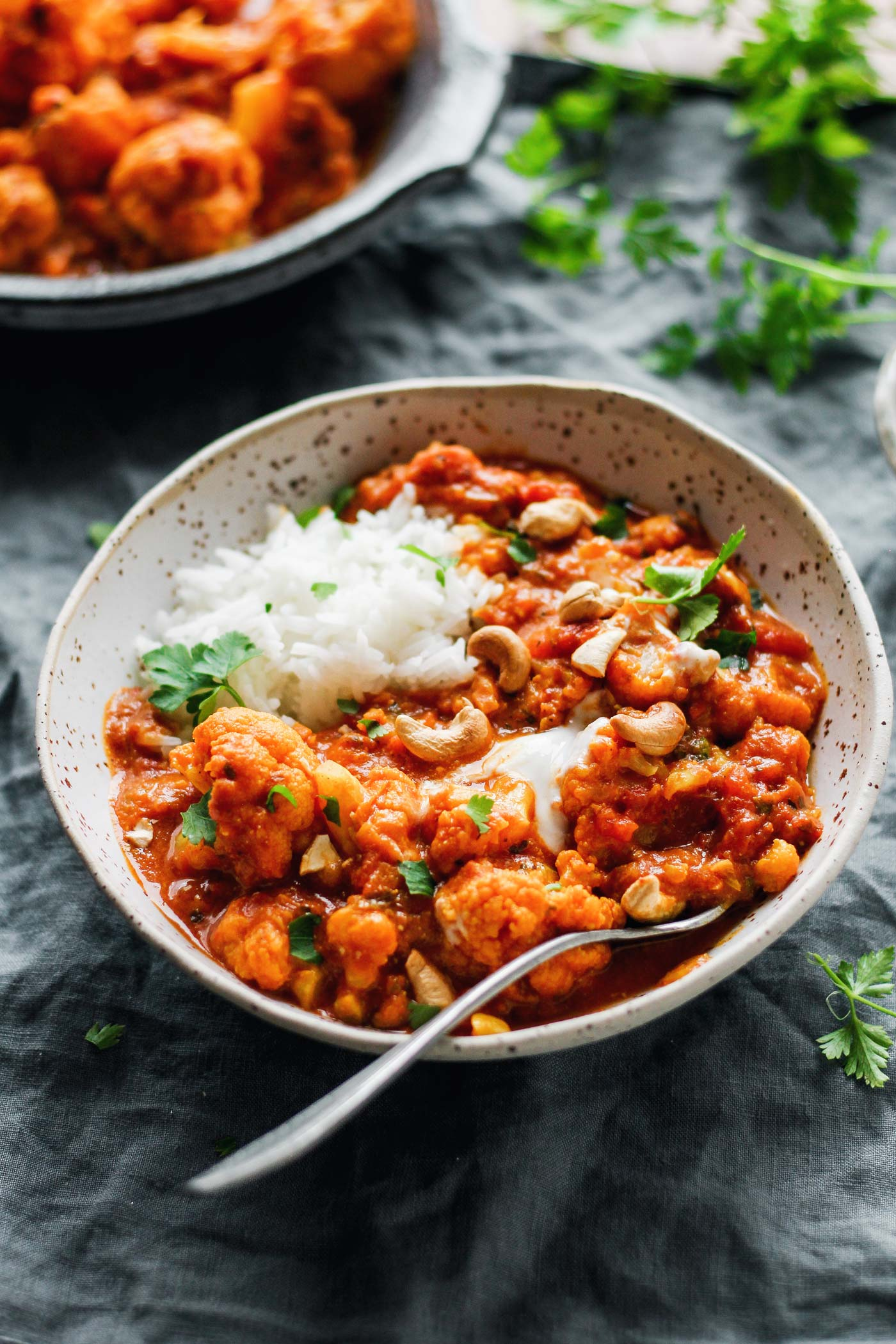 Instant Pot Cauliflower Tikka Masala curry in a ceramic bowl