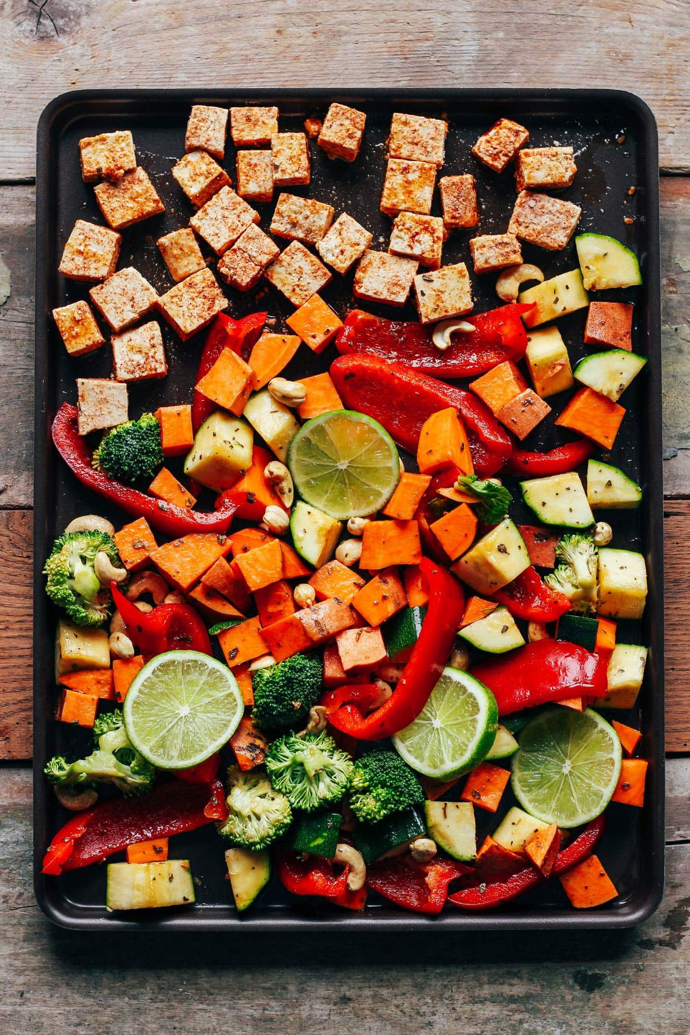 Sheet Pan Crispy Tofu with Thai Hummus