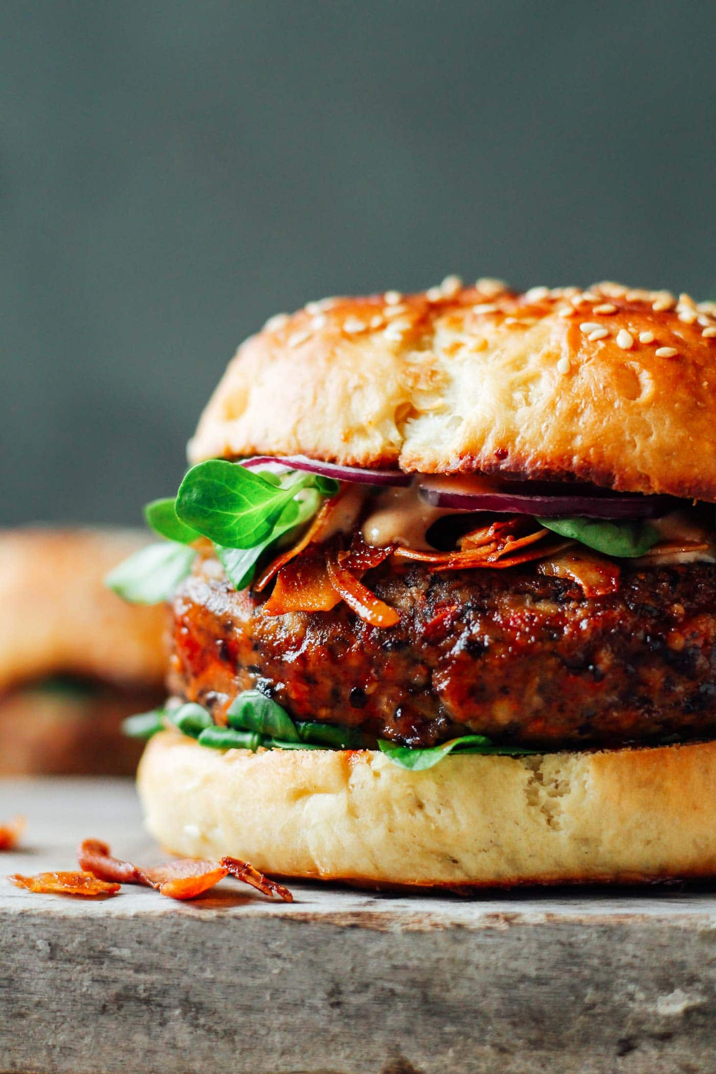 Smoky Tempeh Black Bean Burgers