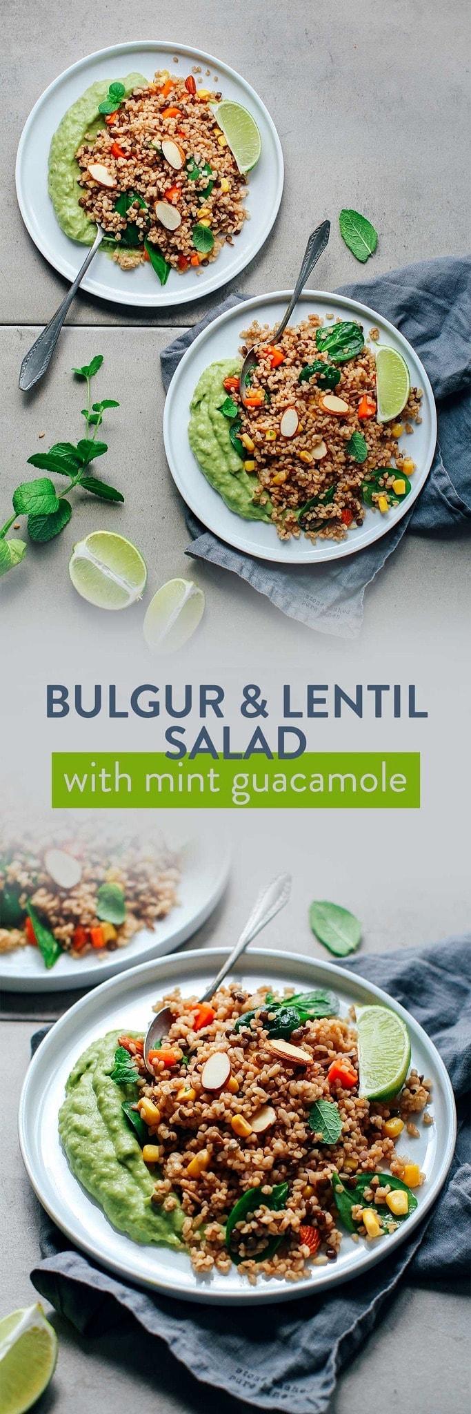 Bulgur & Lentil Salad with Mint Guacamole