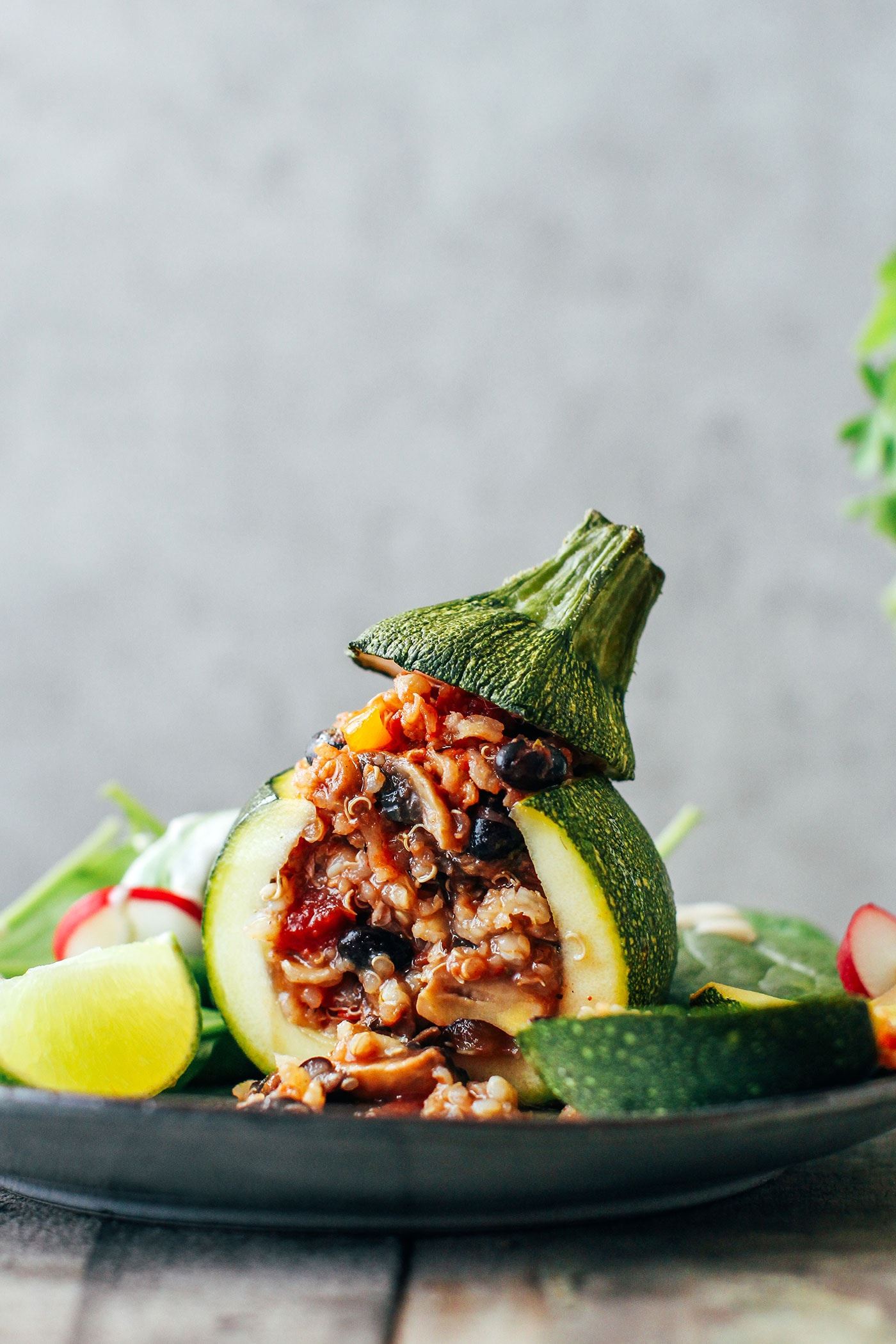 Three-Grain Enchilada Stuffed Zucchini