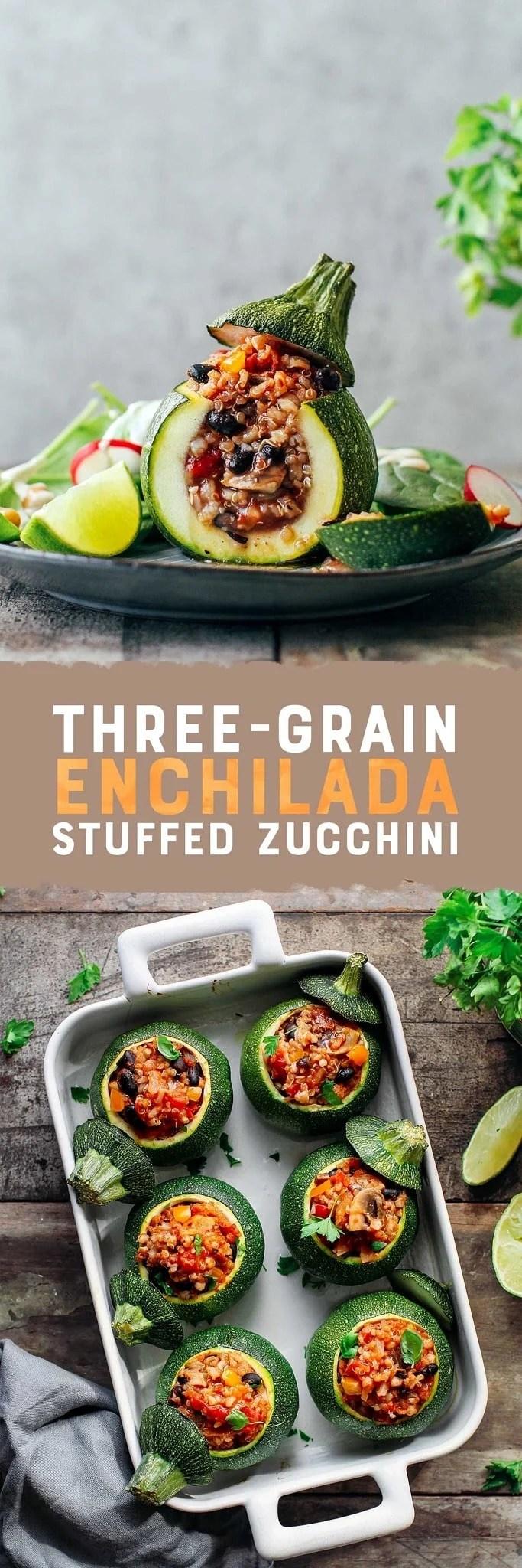 Three-Grain Enchilada Stuffed Zucchini