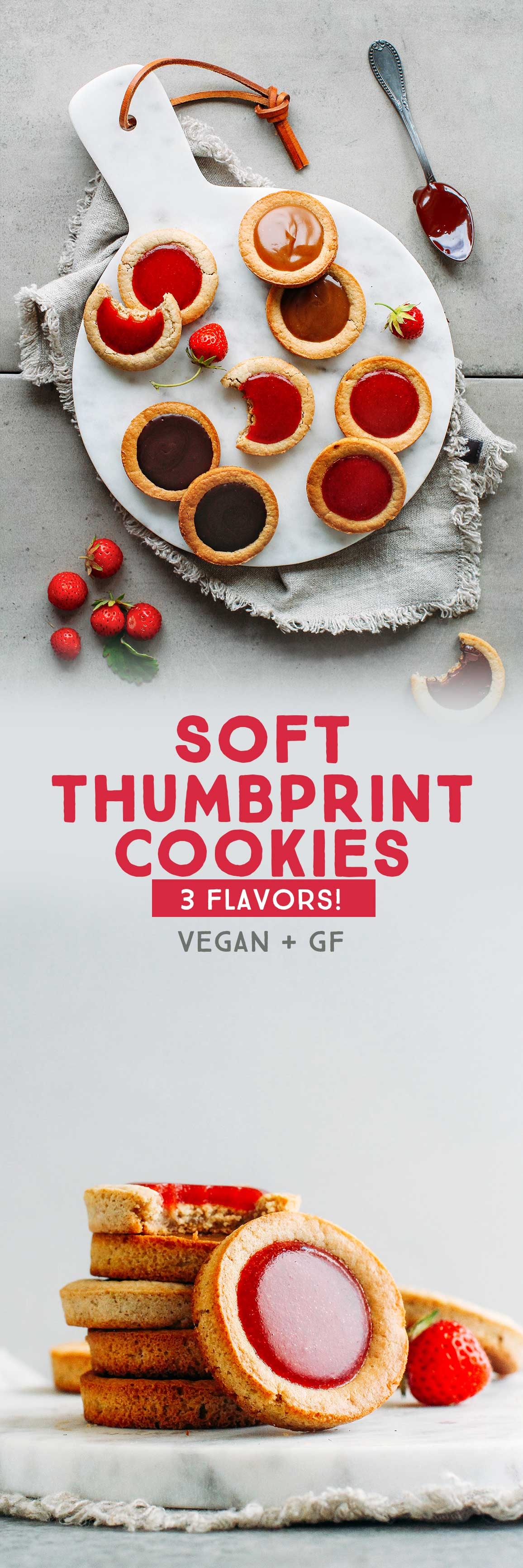 Soft Thumbprint Cookies - 3 Flavors! (Vegan + GF)