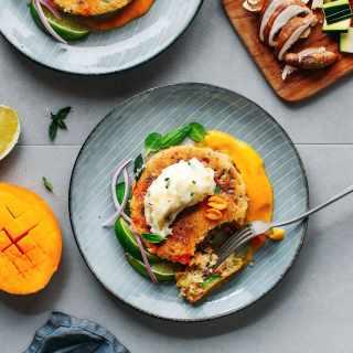 Thai Veggie Pancake with Creamy Mango Sauce