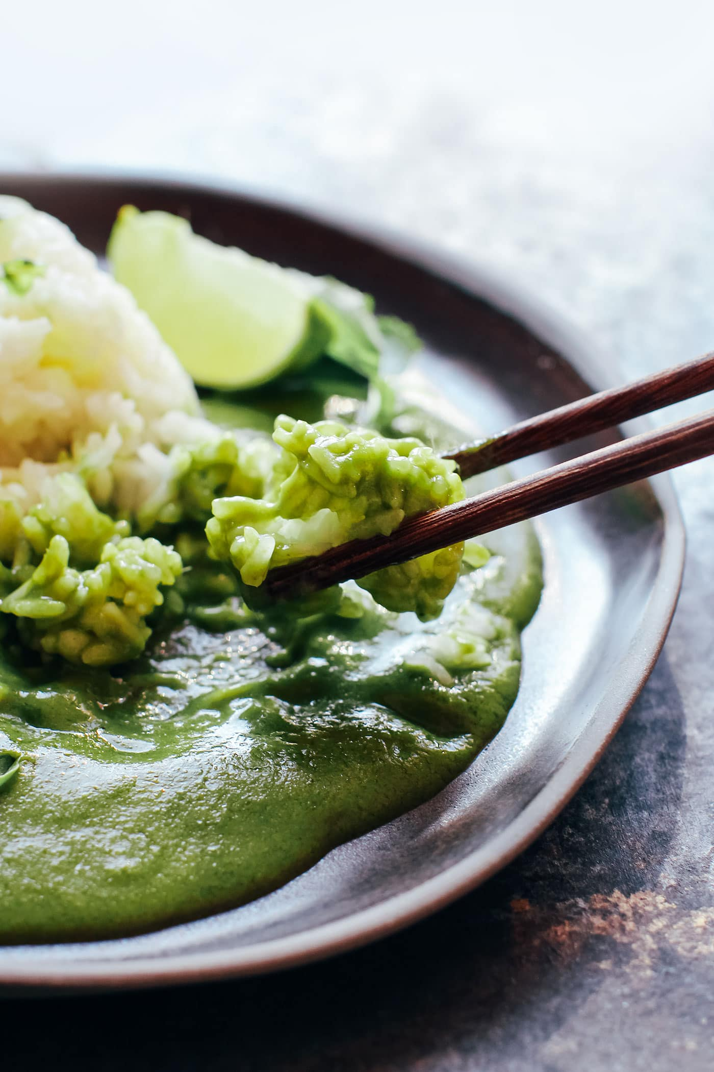 Instant Pot Sticky Rice with Green Curry Sauce