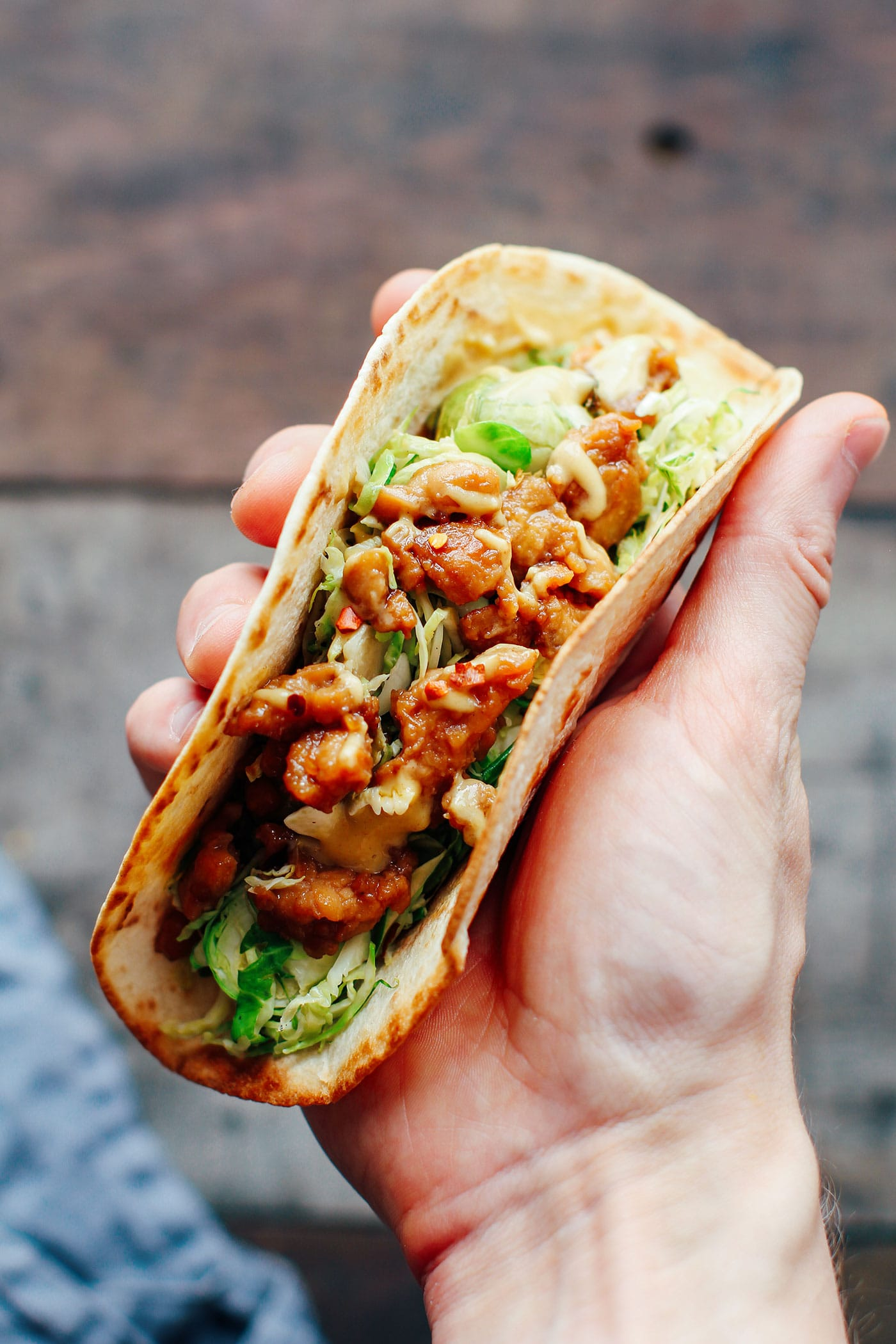 Roasted Brussel Sprouts & Tempeh Scramble Tacos