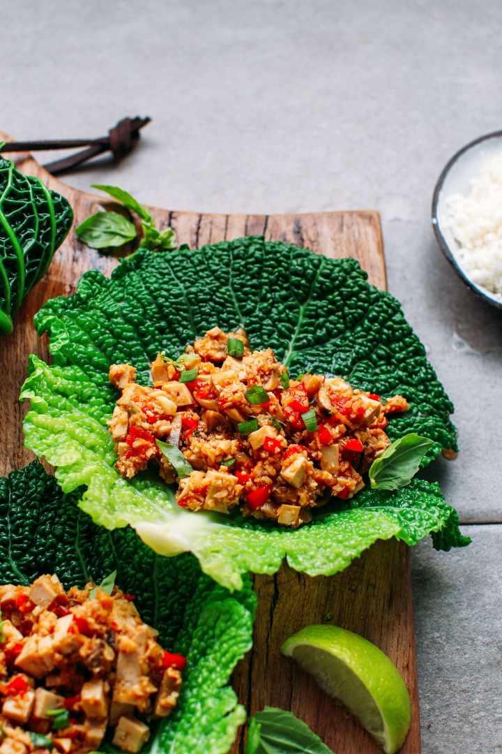 Teriyaki Tofu & Cauliflower Rice Cabbage Rolls