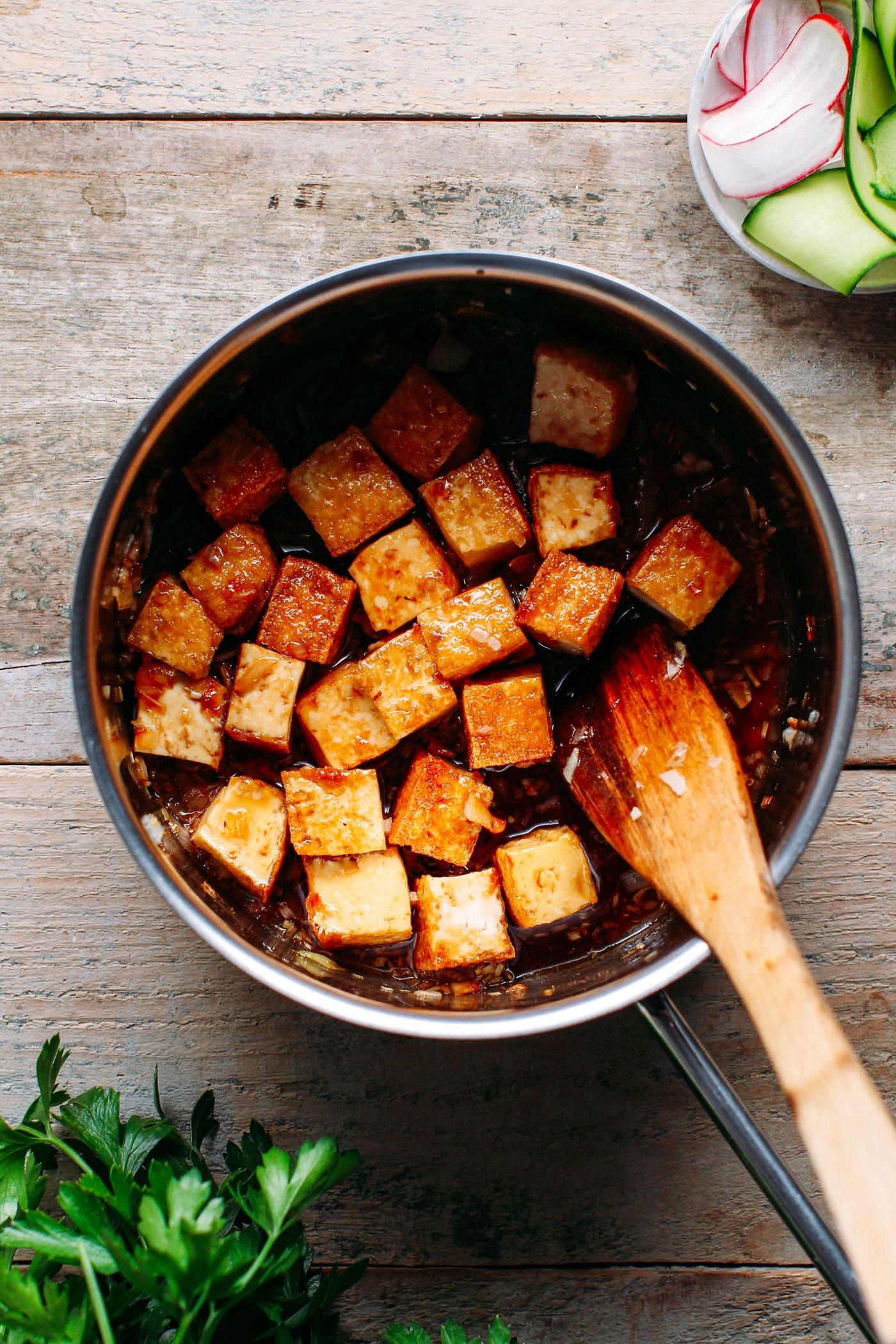 Saucy Caramelized Tofu Bowls