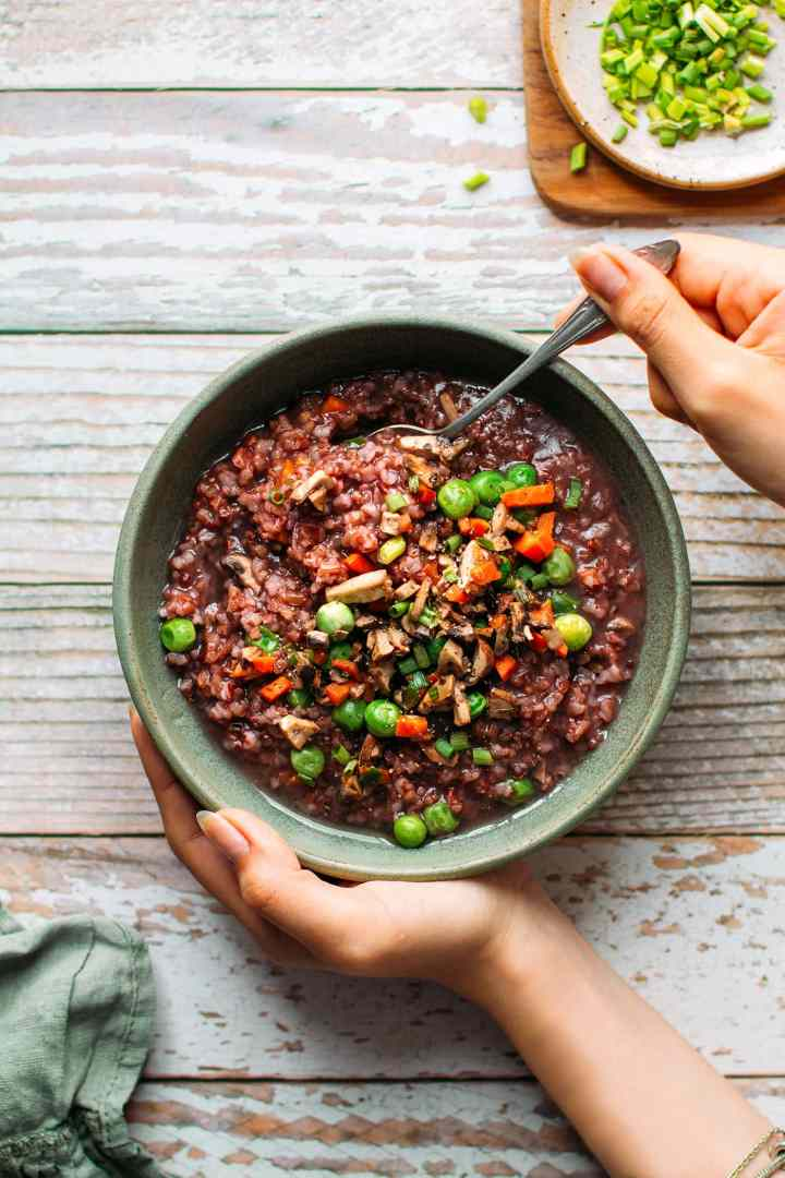 Cozy Red Rice Soup with Mushrooms