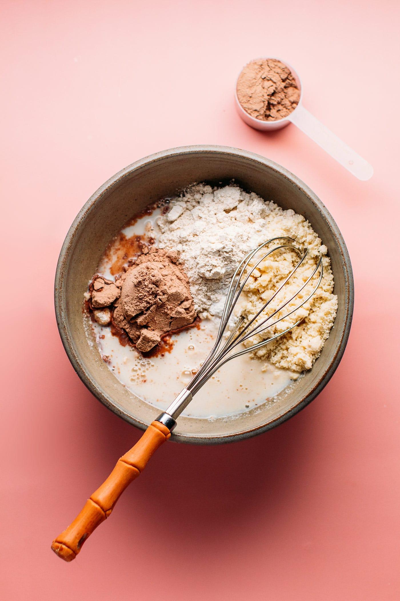 Chocolate Protein Pancakes (Vegan + GF)