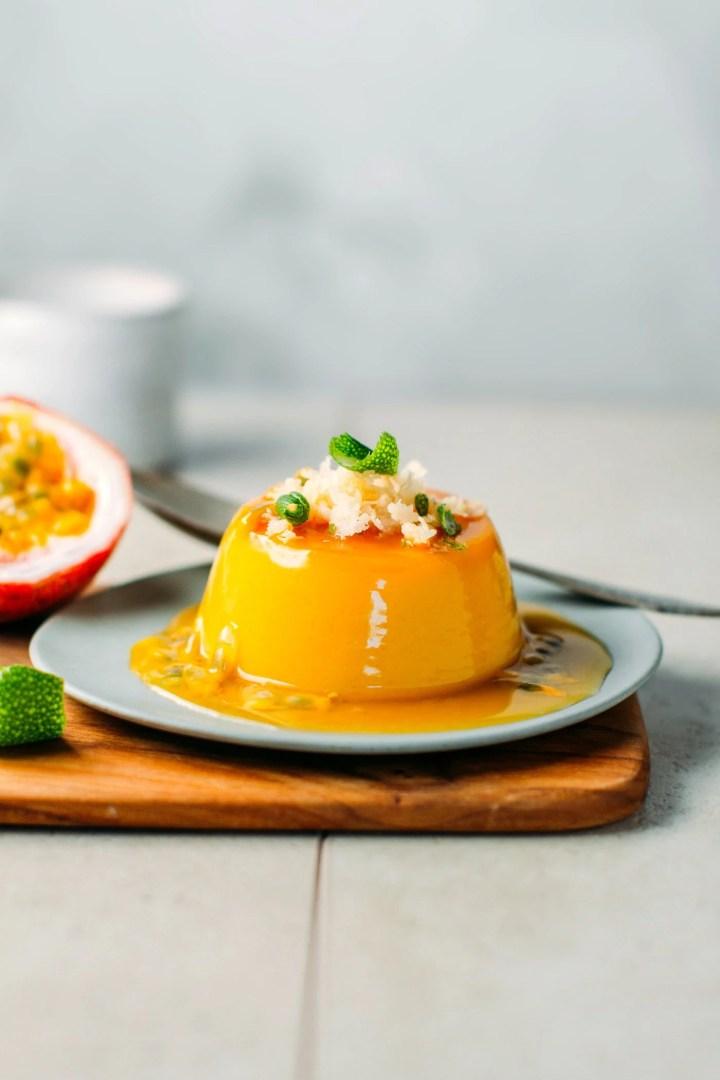 Mango & Passion Fruit Flan (Vegan + GF)