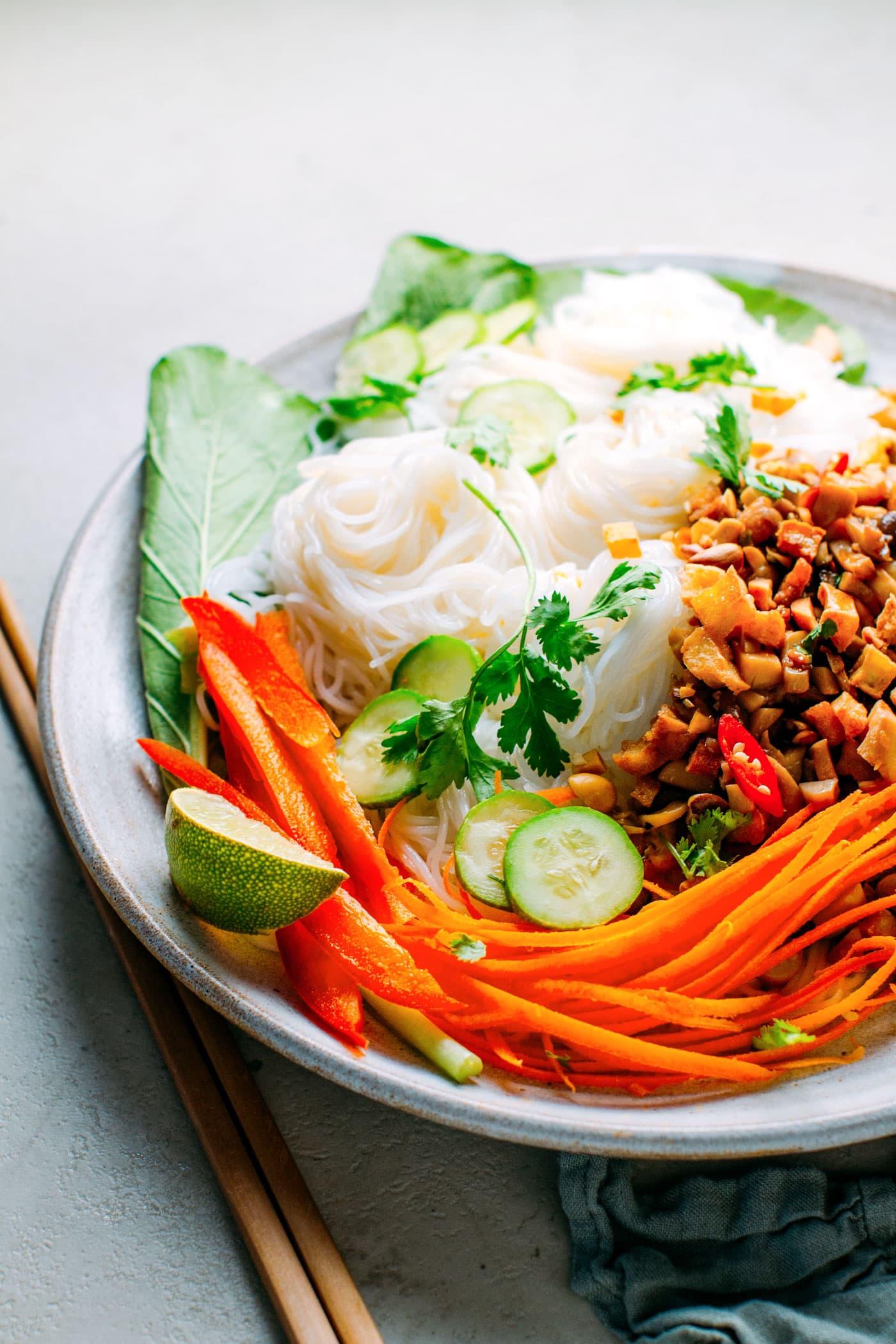 Spicy Noodle Salad with Garlic Mushroom Larb