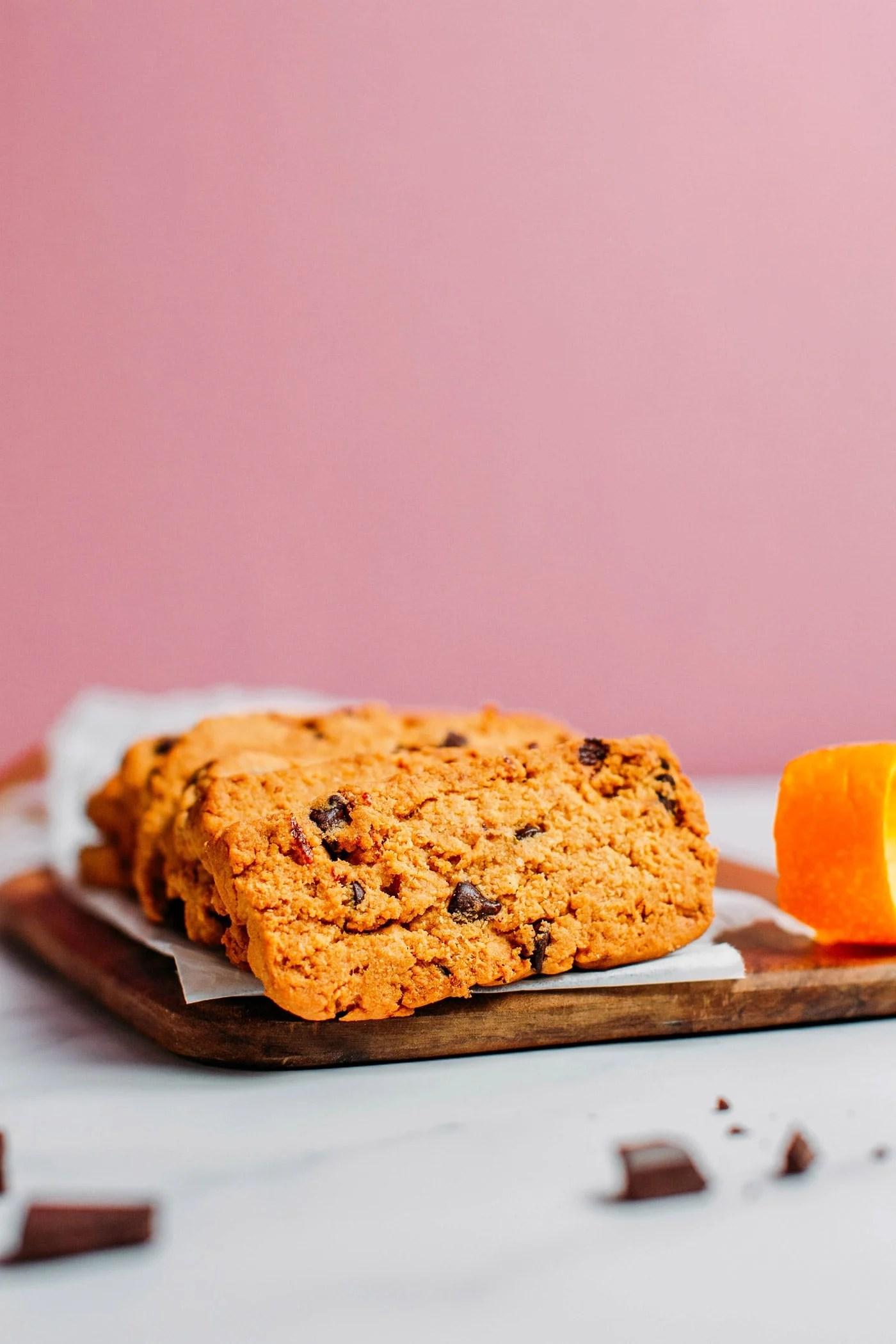 Chocolate Chip Orange Shortbread Cookies (Vegan + GF)
