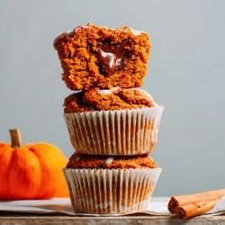 Chocolate Hazelnut Stuffed Pumpkin Muffins (Vegan +GF)
